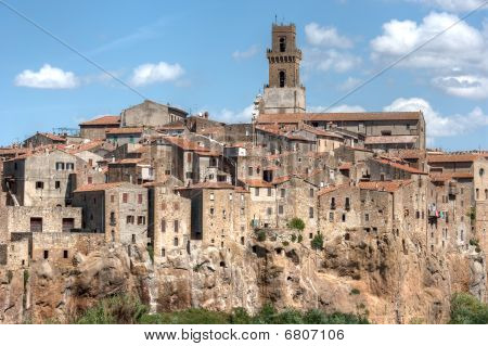 Small Tuscany Village On Cliff