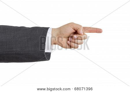 Business Man Arm With Pointing Index Finger