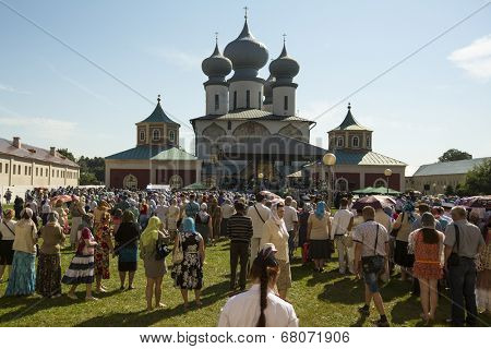 TIKHVIN, RUSSIA - JULY 9, 2014: Celebrations on the occasion of the 10th anniversary of the return of the Tikhvin icon of the Mother of God, Procession and divine Liturgy in Uspensky monastery.