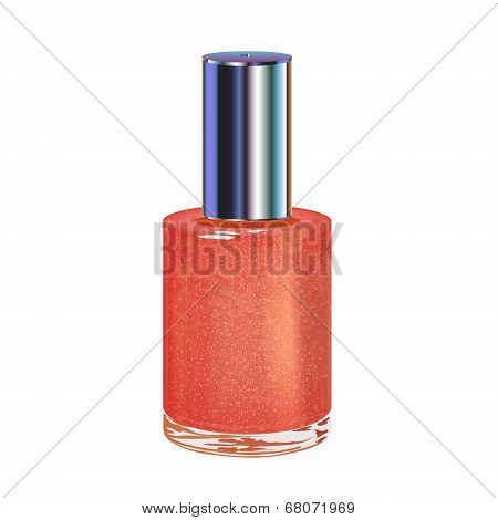 Nail polish with silver cap. Vector object.