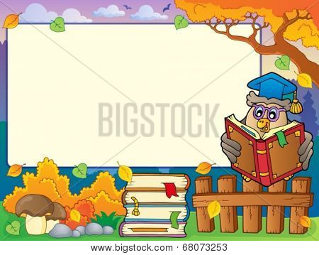 Autumn frame with owl teacher 4 - eps10 vector illustration.