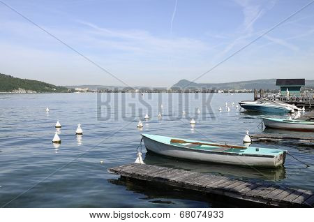 Annecy Lake And City With Boats From Veyrier-du-lac
