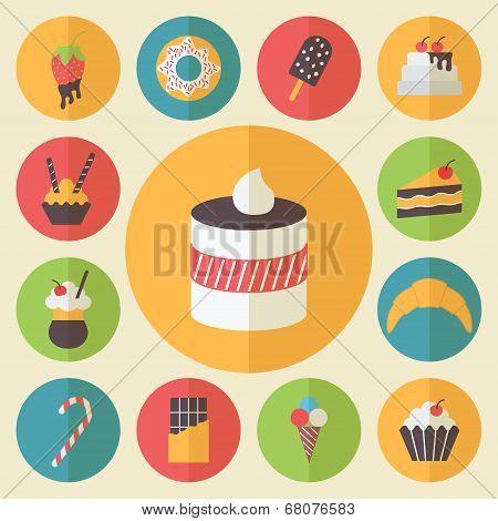 Sweets element set, food icons, flat design vector for restaurant, cafe and dessert menu.