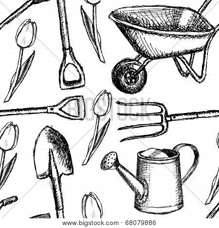 Garden Fork, Barrow, Watering Can And Shovel,  Seamless Pattern