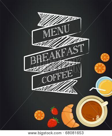 Breakfast menu drawing with chalk on blackboard, croissants, coffee and juice
