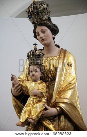 WURZBURG, GERMANY - JULY 18: Madonna with Child, St. Augustine's Church is a Catholic church in Wurzburg. The monastery church of the Augustinian Order is located in the city center, on July 18, 2013.