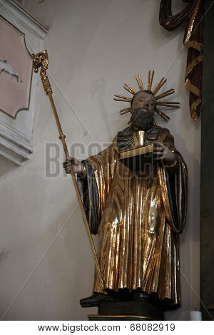 SCHMERLENBACH, GERMANY - JULY 19: Statue of Saint, Sanctuary of St. Agatha in Schmerlenbach in the Diocese of Wurzburg on July 19, 2013.
