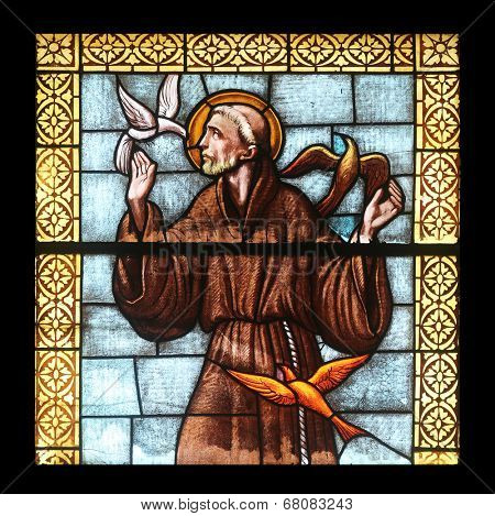 PORT AZZURRO, ELBA, ITALY - MAY 03: Saint Francis of Assisi, stained glass in the church of St. James the Greater. The church is located inside the fort of the same name in Porto Azzurro on May 3,2014