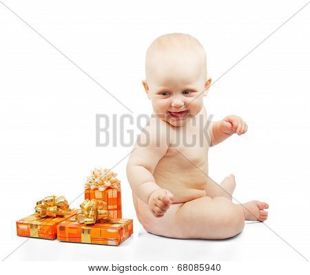 Happiness baby with gifts