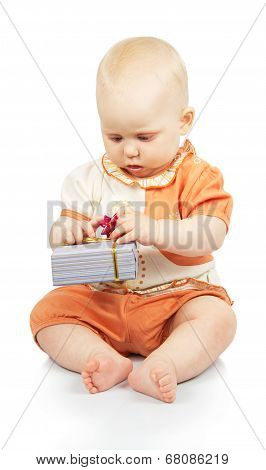 Baby develops colorful gift box