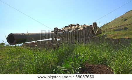 Large-caliber Gun On Old Destroyed Tank Beside The Syrian Border