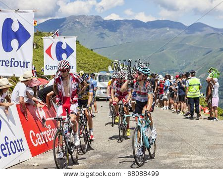 The Peloton In Pyrenees Mountains