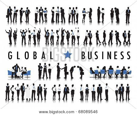 Silhouettes of Business People and the Text Global Business