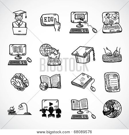 Online education icon sketch