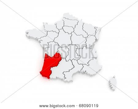 Map of Aquitaine (region). France. 3d