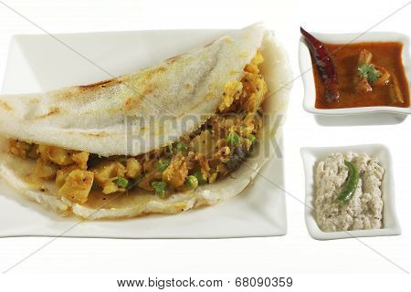 Masala Dosa Stuffed With potato Masala.