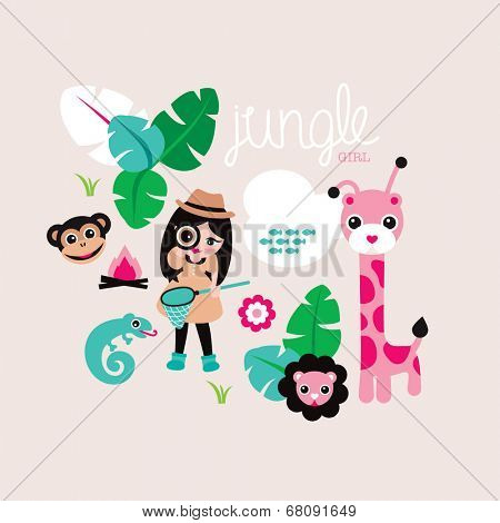 Cute jungle girls with giraffe lion and monkey wild life illustration cover design background in vector