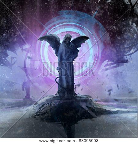 Alien ship lightning statue