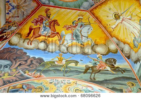 Roof painting at Rila Monastery church