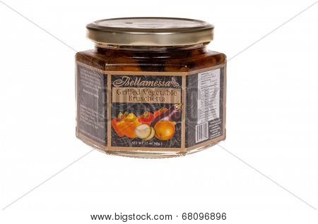 HAYWARD, CA - July 8, 2014: Mixed Grilled Vegetable Bruschetta in a 12 oz jar, imported from Turkey containing no artificial preservatives, colors or flavors.
