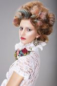 picture of fancy-dress  - Glamorous Woman with Stylized Fanciful Dyed Coiffure - JPG