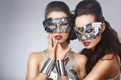 Masquerade. Artistic Women In Fancy Bright Glasses poster