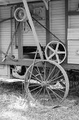 picture of threshing  - Old wooden threshing machine and a pitchfork at the Weteraanikonep - JPG