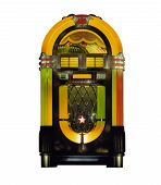 stock photo of jukebox  - Colorful vintage Jukebox music against white background - JPG