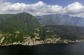 stock photo of salvatore  - view of lugano lake and mountains from Monte San Salvatore Switzerland
