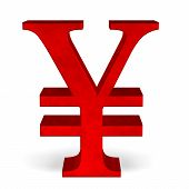foto of yuan  - Red reflective yen or yuan sign isolated on white front view - JPG