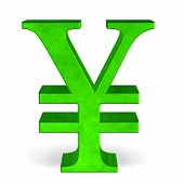 picture of yuan  - Green reflective yen or yuan sign isolated on white front view - JPG