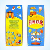 pic of carnival ride  - Amusement entertainment carnival fun fair vertical banners advertising leaflets isolated vector illustration - JPG