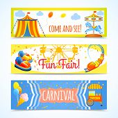 foto of carnival ride  - Amusement entertainment carnival theme park fun fair horizontal banners isolated vector illustration - JPG