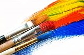 foto of bristle brush  - Paint brushes on a background of abstract background - JPG