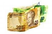 foto of nelson mandela  - south african banknotes in denominations of 10 20 and 100 - JPG