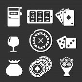 stock photo of poker machine  - Set icons of casino isolated on black - JPG