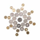 image of iranian  - Arrangements of Iranian coins on the white background - JPG