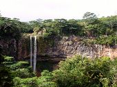 stock photo of chamarel  - Chamarel Falls During Summer In Mauritius Island - JPG