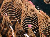 picture of cho-cho  - Spiral incense of Thien Hau Temple, located in Cho Lon of Ho Chi Minh, Vietnam. It