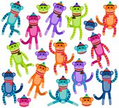 stock photo of sock-monkey  - Vector Collection of Cute and Colorful Sock Monkeys - JPG