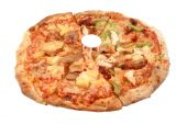 image of doughy  - Whole round Italian pizza with different types of toppings like sausage pineapple green peppers sundried tomatoes chicken and bacon isolated on a white background - JPG