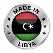 image of libya  - Made in Libya silver badge and icon with central glossy Libyan flag symbol and stars - JPG