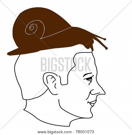 Outline Of A Man's Head With Snail 01