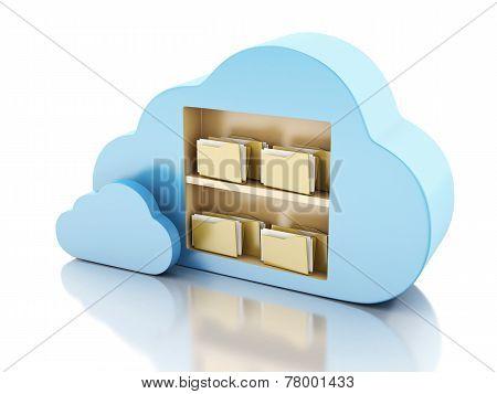 3d File storage in cloud. Cloud computing concept.