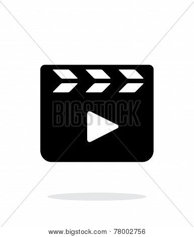 Clapper board closed icon on white background.