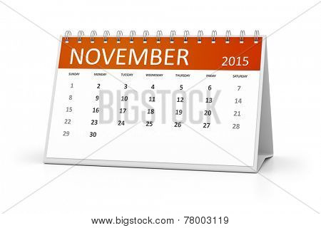 An image of a table calendar for your events November 2015
