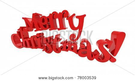 Merry Christmas 3d text on white background
