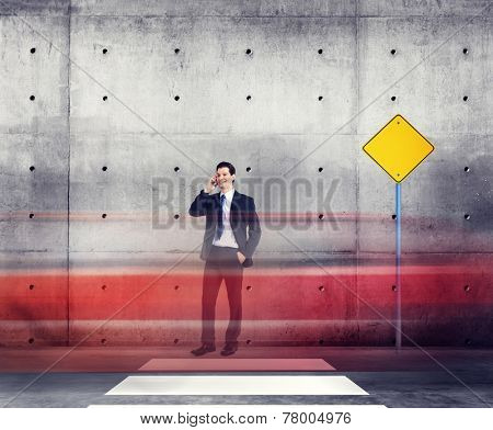 Businessman Talking Traffic Red Light Motion Concept