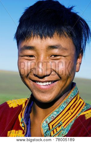 Mongolian man in traditional dress.