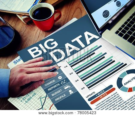 Big Data Businessman Working Calculating Thinking Planning Paperwork Concept